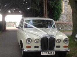 White Daimler for weddings in London
